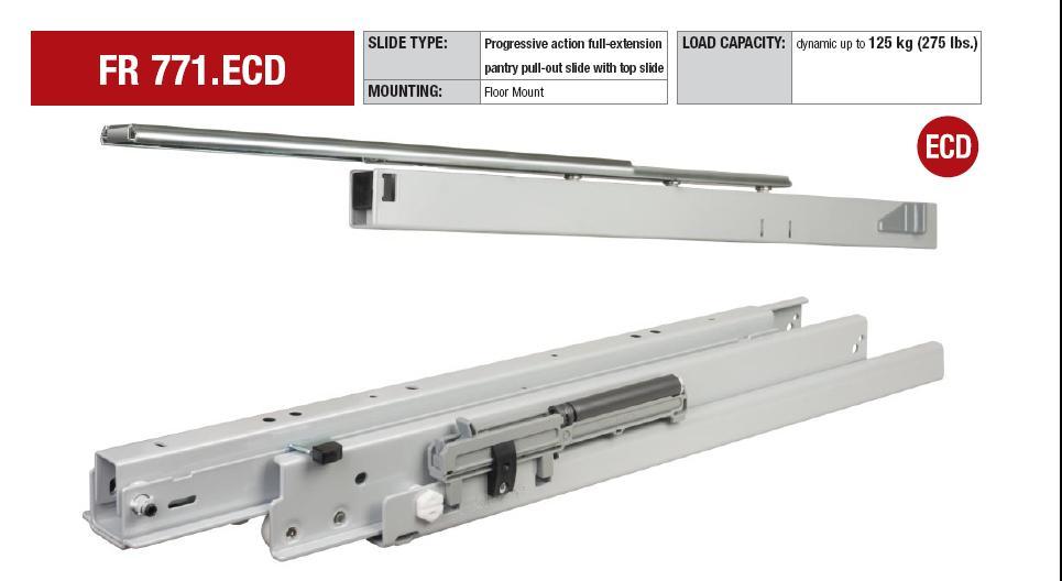 Bottom Heavy Duty Drawer Slides : Fulterer model fr bottom mount progressive action